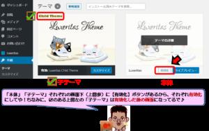 Luxeritas(ルクセリタス)本体・子テーマの有効化画像