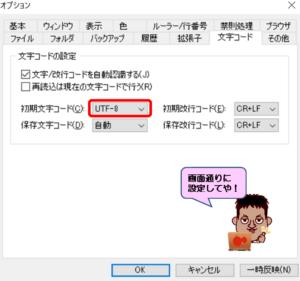 TeraPad文字コード設定画面
