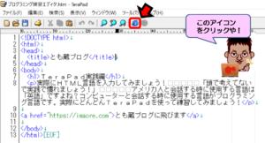 TeraPad作成テキストのWEB上表示確認方法画面