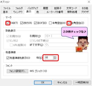 TeraPad表示設定画面