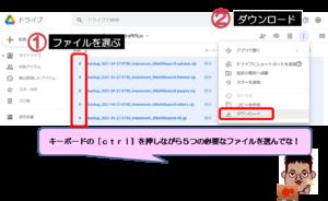 Googleドライブ説データダウンロード説明画面